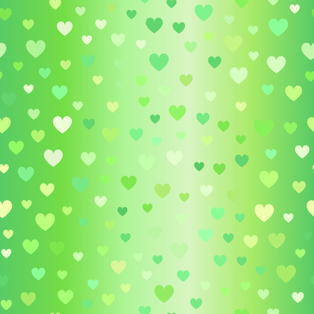 Glowing heart pattern. Seamless vector background with green hearts on gradient backdrop Illustration