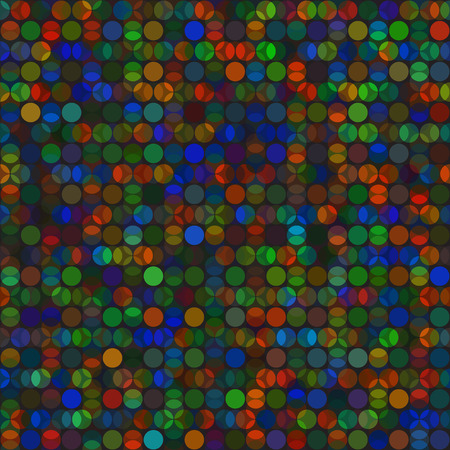 Bright vector seamless background vivid overlapped circles on black backdrop Ilustração