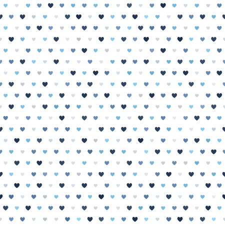 Heart pattern seamless vector background blue, gray, and white hearts of different size backdrop