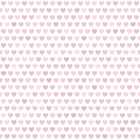 心臓のパターンシームレスベクトル背景 - 白い背景にバラ、ピンクのハート  イラスト・ベクター素材