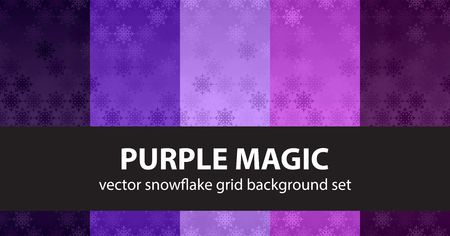 Snowflake pattern set Purple Magic. Vector seamless backgrounds - amethyst, lavender, plum, purple, violet snowflakes on gradient backdrop