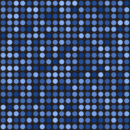 Polka dot pattern. Seamless vector background - blue circles on black backdrop