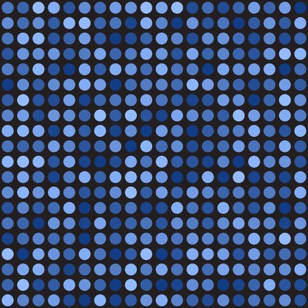 Polka dot pattern. Seamless vector background - blue circles on black backdrop