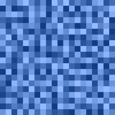 Square pixel pattern. Seamless vector background with blue and light blue squares