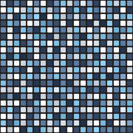 Square pattern. Seamless vector background - blue, gray and white rounded squares on black backdrop Illustration