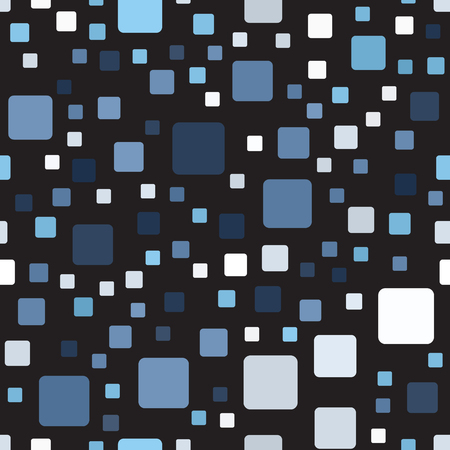 Square pattern. Seamless vector background - blue, gray and white rounded squares on black backdrop.