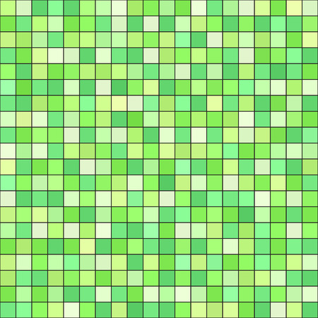 Square pattern. Vector seamless tile background - green squares on black backdrop