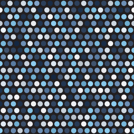 Polka dot pattern. Seamless vector background. Blue, gray and white dots on black backdrop illustration.