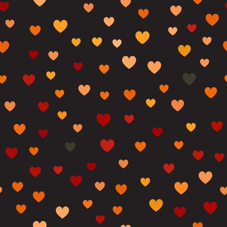 心臓のパターンシームレスなベクトルの背景 - 赤、桃、黒、オレンジ、黒の背景にカボチャの心  イラスト・ベクター素材