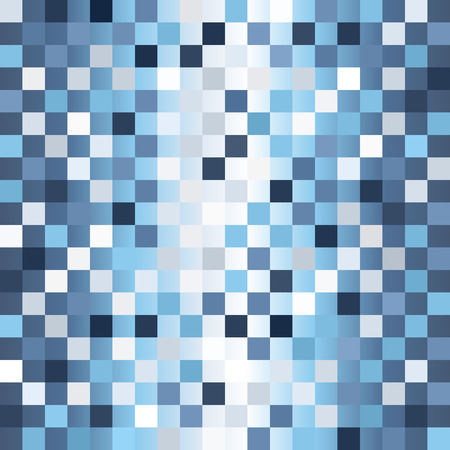 Checkered pattern. Seamless vector background - blue, gray and white squares on gradient backdrop