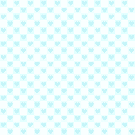 Cyan checkered heart pattern. Seamless vector background - blue hearts on squares on light cyan backdrop 일러스트