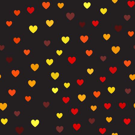 心臓のパターンシームレスベクトル背景 - 黒の背景にマルーン、赤、オレンジ、ゴールド、黄色のハート