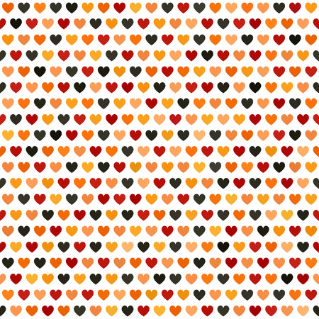 Heart pattern Seamless vector background  red, peach, black, orange, pumpkin hearts on white backdrop Illustration