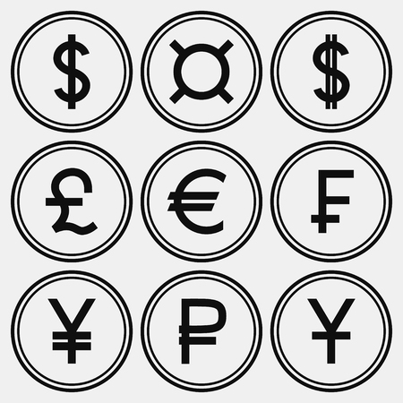 Set of monochrome coin-like icons with different currency symbols Illustration
