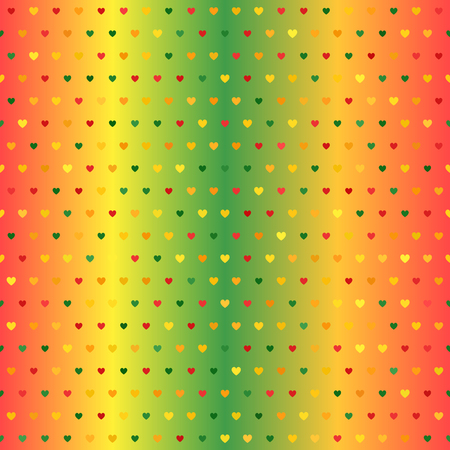 Heart pattern. Seamless vector background - red, yellow, green, orange hearts of different size on gradient backdrop