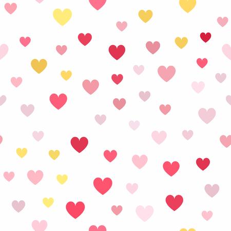 Heart pattern. Seamless vector background - yellow, rose, peach, orange hearts on white backdrop 일러스트
