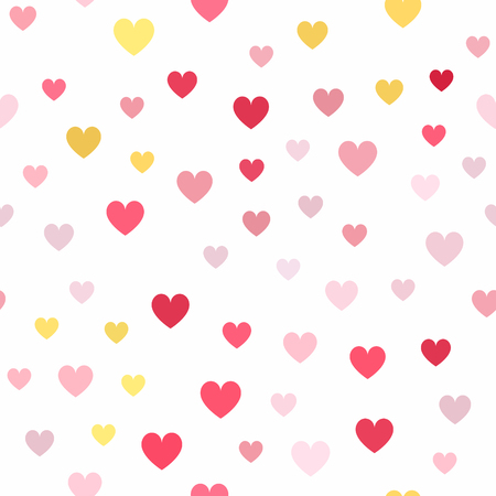 Heart pattern. Seamless vector background - yellow, rose, peach, orange hearts on white backdrop Illustration