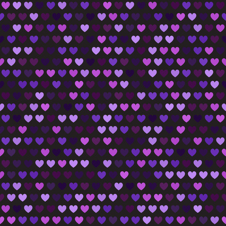 Heart pattern. Seamess vector background - amethyst, lavender, plum, purple, violet hearts on black backdrop  イラスト・ベクター素材