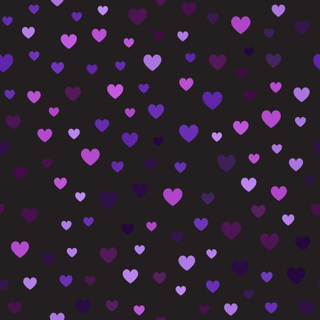 Heart pattern. Seamless vector background - amethyst, lavender, plum, purple, violet hearts on black backdrop.