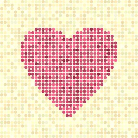 Pixel art heart on beige backdrop