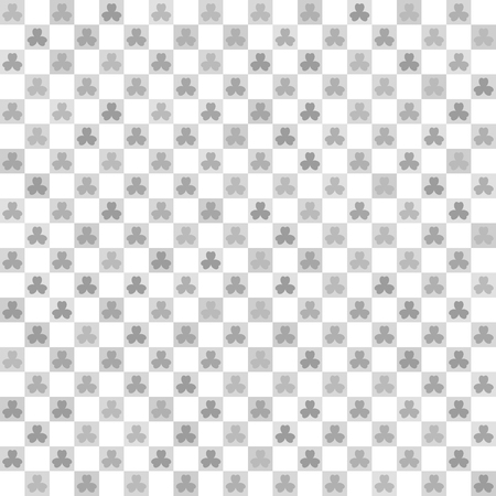 Checkered shamrock pattern. Seamless vector background - gray shamrocks and light gray squares on white backdrop
