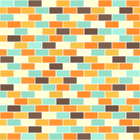 Brick wall pattern. Seamless vector brick background - beige, brown, orange, yellow, green rectangles on white backdrop