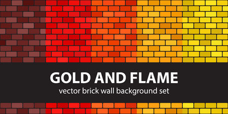 Brick pattern set Gold and Flame. Vector seamless brick wall backgrounds. Rounded rectangles on black backdrops