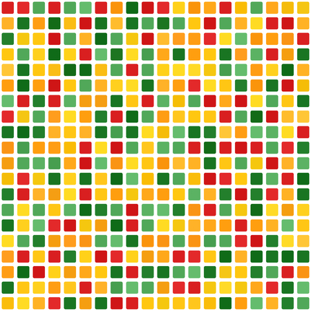 Square pattern. Seamless vector background - red, light green, yellow, green, orange rounded squares on white backdrop  イラスト・ベクター素材