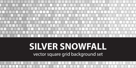 Square pattern set Silver Snowfall. Vector seamless tile backgrounds - gray, silver and white rounded squares on gray backdrops