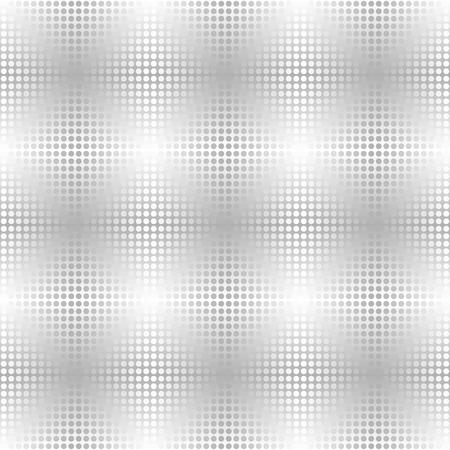 Motivo a punti metallici argento. Vector background senza soluzione di continuità - cerchi grigi e bianchi su sfondo sfumato Vettoriali