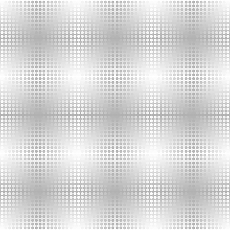 Silver metallic dot pattern. Vector seamless background - gray and white circles on gradient backdrop