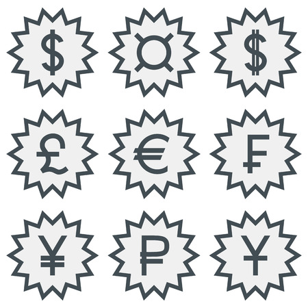 Set of different currency symbols. Vettoriali