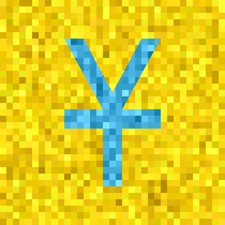 Pixel vector quadratic grid illustration - low-poly light blue yen or yuan symbol on yellow background