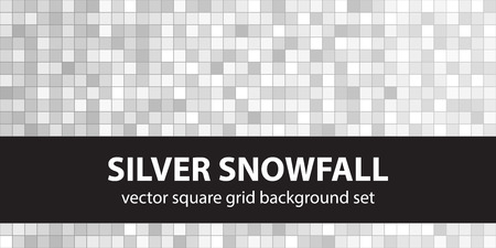 Square pattern set Silver Snowfall. Vettoriali