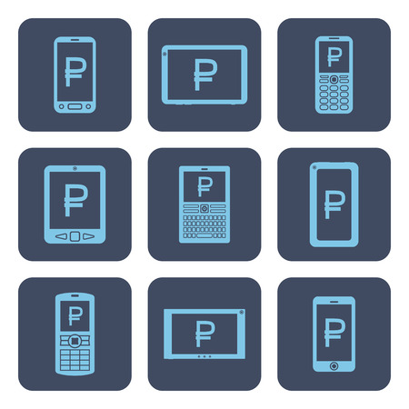 Set of mobile device icons with ruble symbols on screens.
