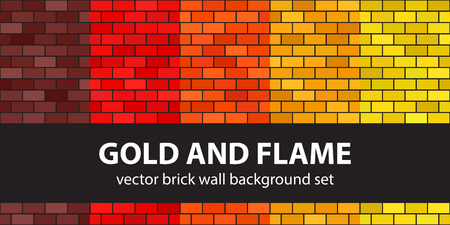 Brick pattern set Gold and Flame. Vector seamless brick wall backgrounds - maroon, red, orange, gold, yellow rectangles on black backdrops Illustration