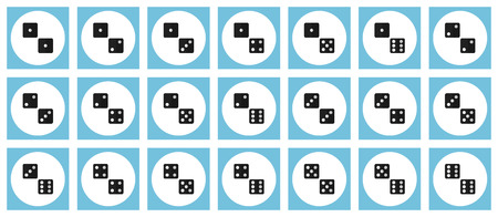 Pairs of dice vector flat icon set - all possible combinations of black dices on white and blue backdrops Illustration