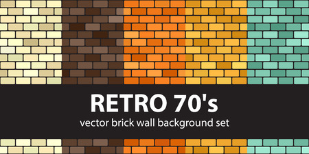 Brick pattern set Retro 70s. Vector seamless brick wall backgrounds - beige, brown, orange, yellow, green rounded rectangles on black backdrops