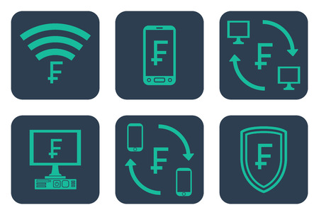 Set of icons about online payments with frank symbols - teal line art icons on rounded blue backdrops 일러스트