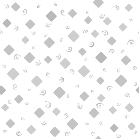 Diamond pattern with spirals. Seamless vector background - gray diamonds and spirals on white backdrop