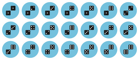 Pairs of dices vector flat icon set - all possible combinations of black dices on light blue backdrops