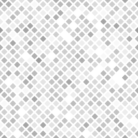 Diamond pattern. Seamless vector background - gray, silver and white rounded diamonds on white backdrop
