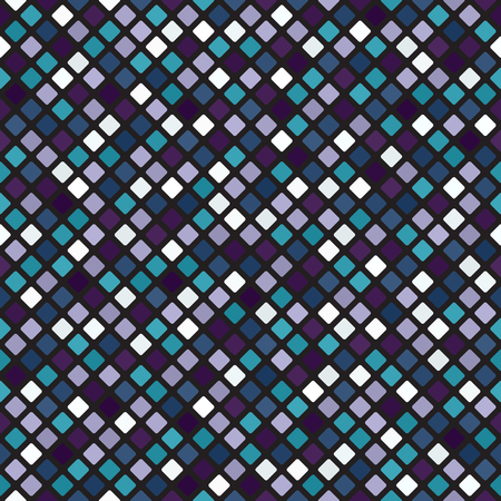 Diamond pattern. Seamless vector background - blue, green, lavender, purple rounded diamonds on black backdrop