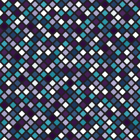Diamond pattern. Seamless vector background - blue, green, lavender, purple rounded diamonds on black backdrop