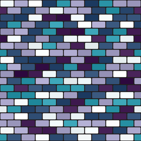 Brick wall pattern Seamless vector background - blue, green, lavender, purple rounded bricks on black backdrop