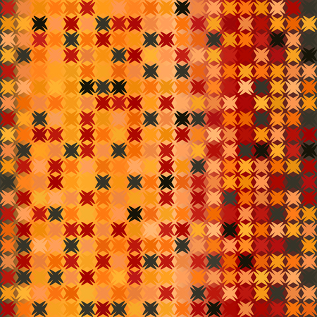 Glowing abstract pattern. Seamless vector background - red, peach, black, orange, pumpkin shapes on gradient backdrop