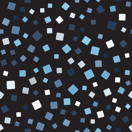 Square pattern seamless vector background. Blue, gray and white rounded squares on black backdrop.
