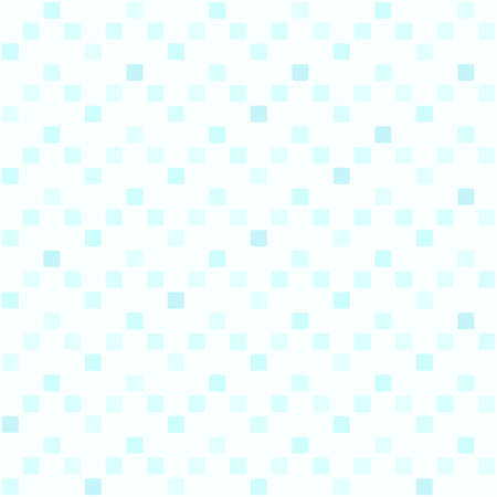 Square zigzag pattern. Seamless vector background - cyan rounded squares on light blue backdrop Illustration