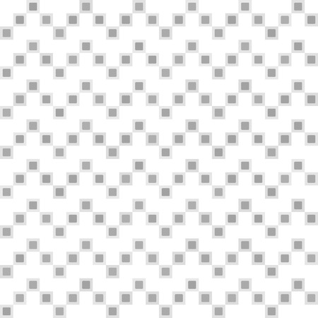 Gray square zigzag pattern. Seamless vector background - grey squares and rounded squares on white backdrop