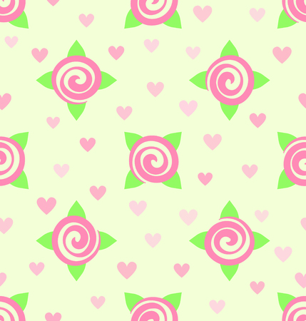 Flower pattern. Seamless vector background - pink roses and hearts on light yellow backdrop